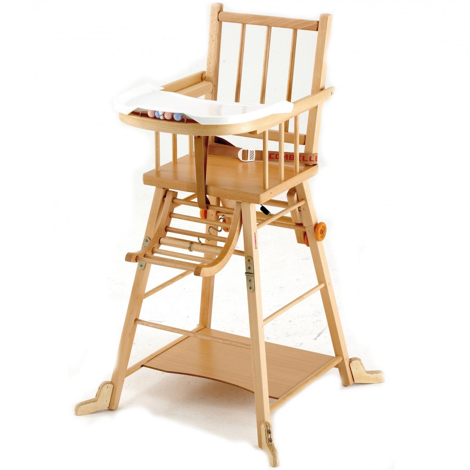 chaise haute bébé bois